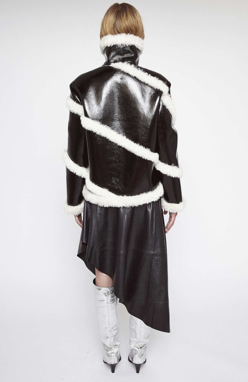 Stand Studio Black and White Patent Shearling Jacket