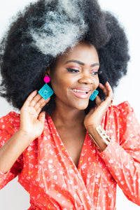 Ethical Lotus Rattan drop earrings - African Fashion -Cecefinery.com- Eco friendly Fashion- African Jewellery