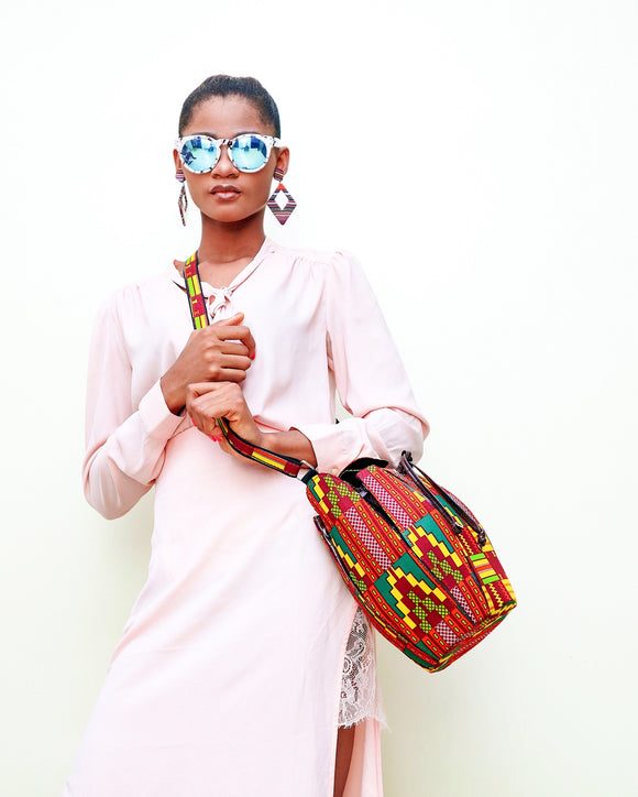 LONGA African prints bucket bag- Kente pixel - African Fashion -Cecefinery.com- Eco friendly Fashion- African Jewellery
