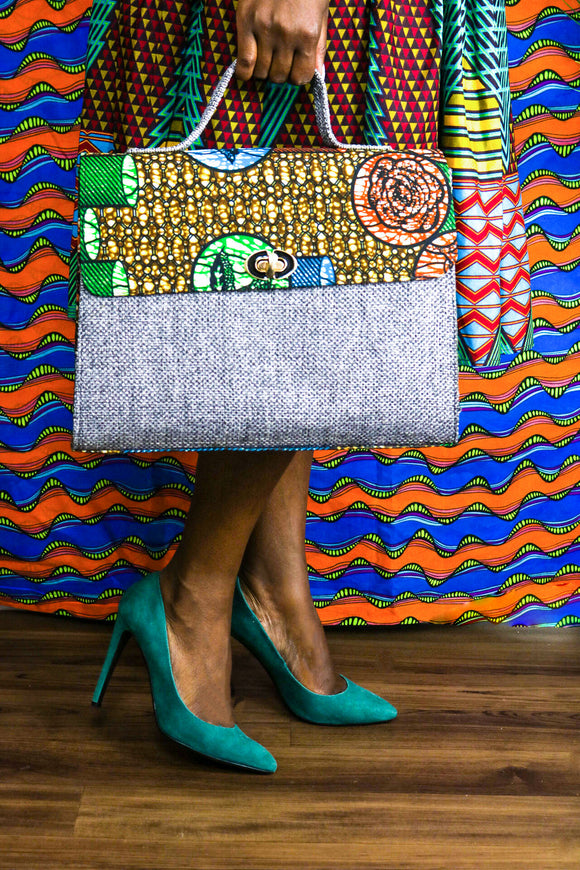 CECEFINERY ANKARA PRINTS SATCHEL BAG - African Fashion -Cecefinery.com- Eco friendly Fashion- African Jewellery