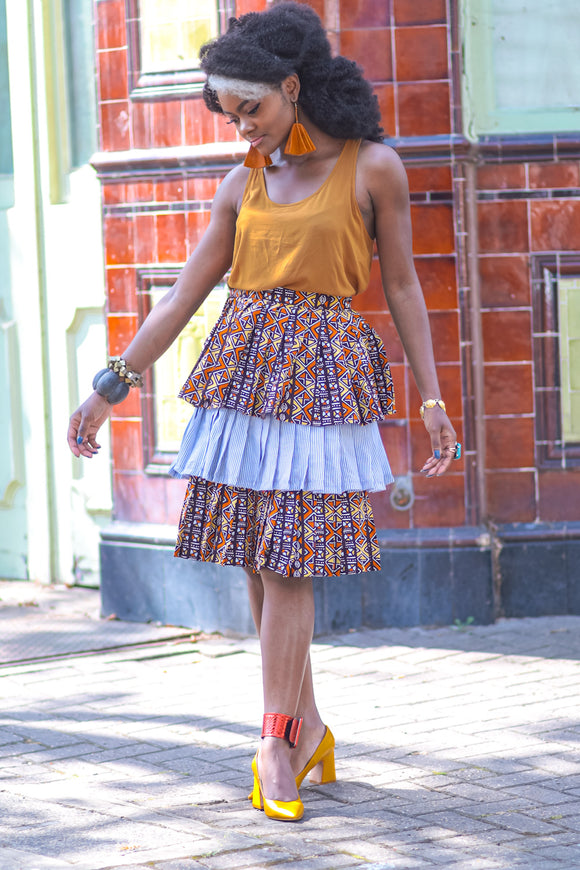 DRESSATON African Prints multi layered skirt - African Fashion -Cecefinery.com- Eco friendly Fashion- African Jewellery