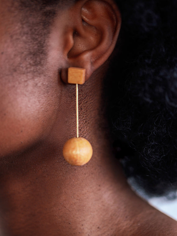 Noa-Ecco Brown ball earrings - African Fashion -Cecefinery.com- Eco friendly Fashion- African Jewellery