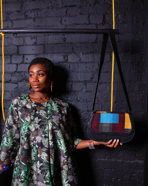CeceFinery Black Jute Pixel Flap bag - African Fashion -Cecefinery.com- Eco friendly Fashion- African Jewellery