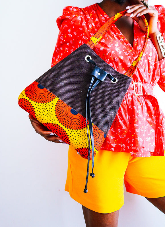 A.h.A Ankara  prints Bucket bag - African Fashion -Cecefinery.com- Eco friendly Fashion- African Jewellery