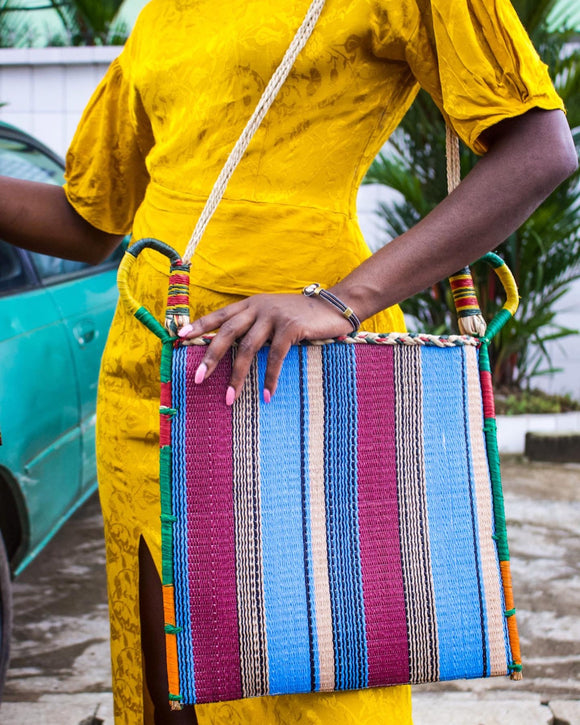 Traditional Paille multicolor straw bag - African Fashion -Cecefinery.com- Eco friendly Fashion- African Jewellery