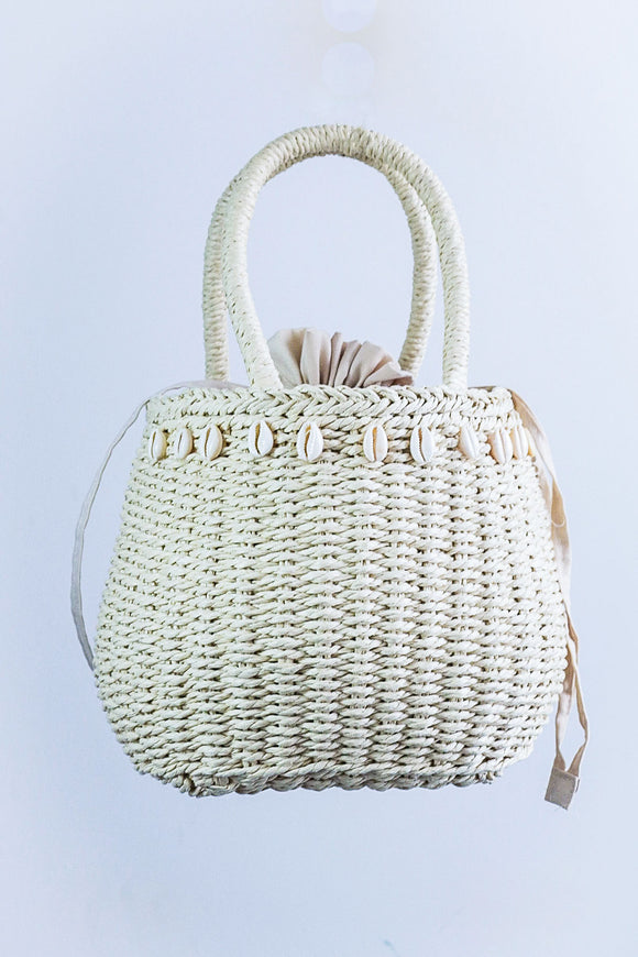 Ethically made Bijou Cowrie embellish Raffia bag - African Fashion -Cecefinery.com- Eco friendly Fashion- African Jewellery