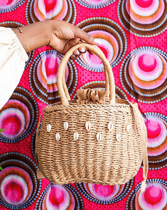 Bijou Cowrie embellish Raffia bag -Brown - Cecefinery.com