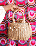 Bijou Cowrie embellish Raffia bag -Brown - African Fashion -Cecefinery.com- Eco friendly Fashion- African Jewellery