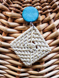 Lotus Rattan Turquoise-Cream Drop - African Fashion -Cecefinery.com- Eco friendly Fashion- African Jewellery