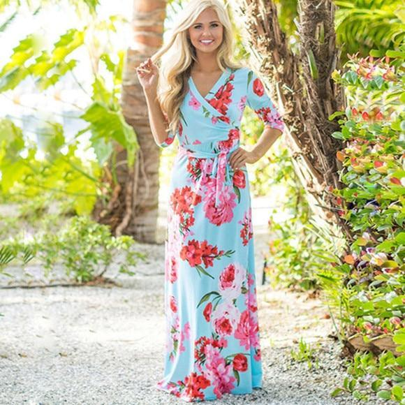 7197a3b269887 Tap to expand · Summer Long Dress 2019 Floral Print Boho Beach Dress Sexy  Elegant Bandage ...