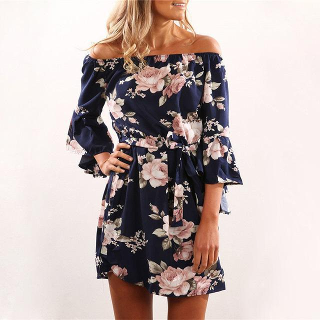 9178cb8775 Women Summer Dress 2019 Sexy Off Shoulder Floral Print Boho Style Chiffon  Beach Dresses Short Party. Tap to expand