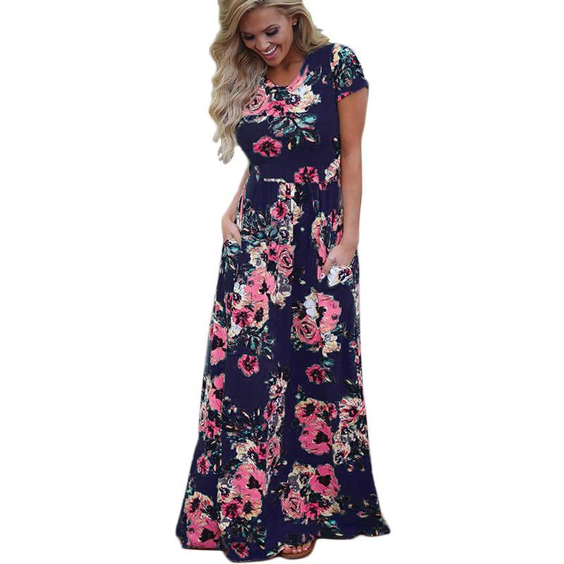 f9c39eb477 Women Summer Floral Print Long Maxi Dress 2019 Boho Beach Dress Short  Sleeve Evening Party Dress. Tap to expand