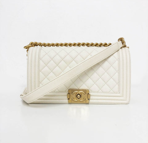 White Chanel Boy Bag