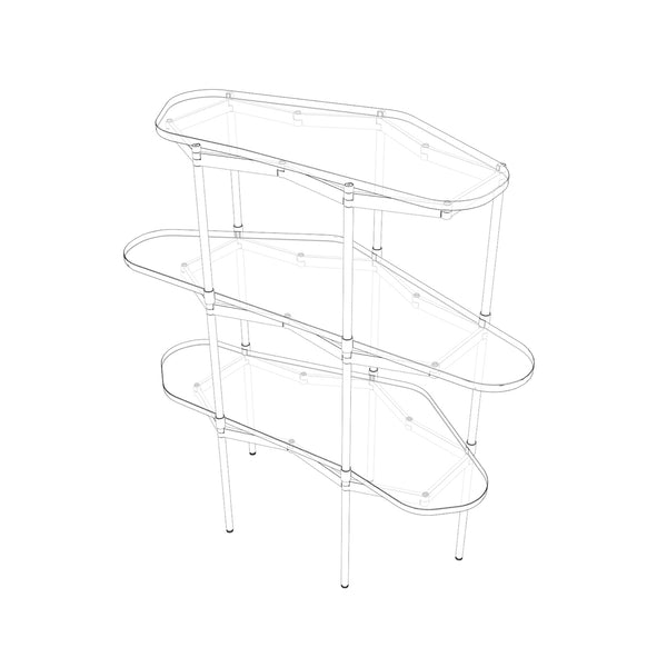 Segments Shelves – Rippled Glass