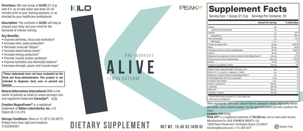 KILO ALIVE Pre-Workout Formula Supplement Facts