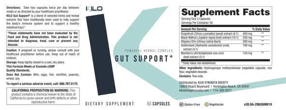 KILO Gut Support Supplement Facts