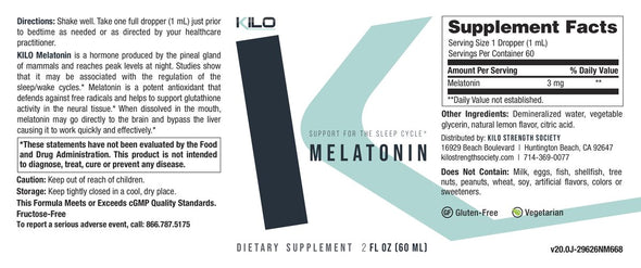 KILO Melatonin Liquid Sleep Supplement Facts