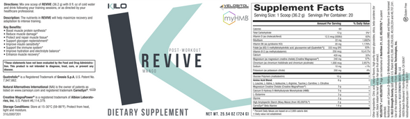 KILO REVIVE Post-Workout Formula Supplement Facts