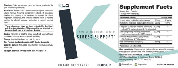 KILO Stress Support Supplement Facts