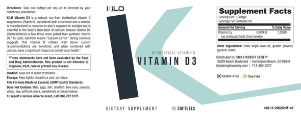 KILO Vitamin D3 Supplement Facts