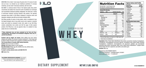 KILO Whey Chocolate Protein Powder Supplement Facts