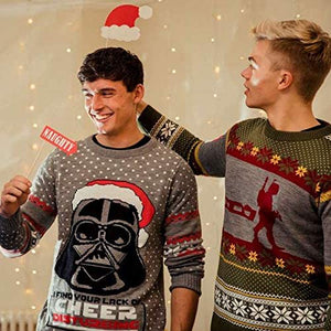 Unisex Official Star Wars Darth Vader Knitted Christmas Men or Women Ugly Novelty Sweater Gift Grey