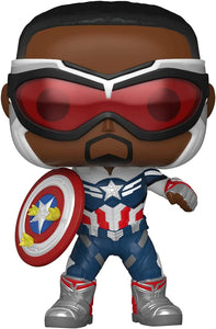 Funko Pop! Marvel: Falcon and The Winter Soldier - Captain America (Sam Wilson) with Shield, Year of The Shield Amazon Exclusive