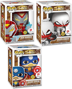 Warped Heroes Exclusive Pop! Figures Infinity Warps Bundled with Marvel Iron Hammer Glow in The Dark + Soldier Supreme + Arach-Knight 3 Items