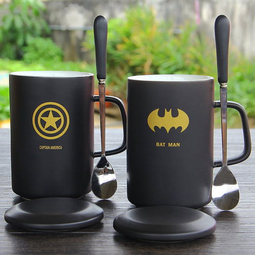 Superhero Mugs - Cup With Cover And Spoon