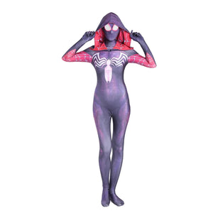Gwen Stacy Costume Cosplay Women Girls Spider-Woman Bodysuit w/ Hoodie