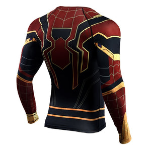 Iron Spider Spiderman Compression Shirt Long Sleeve