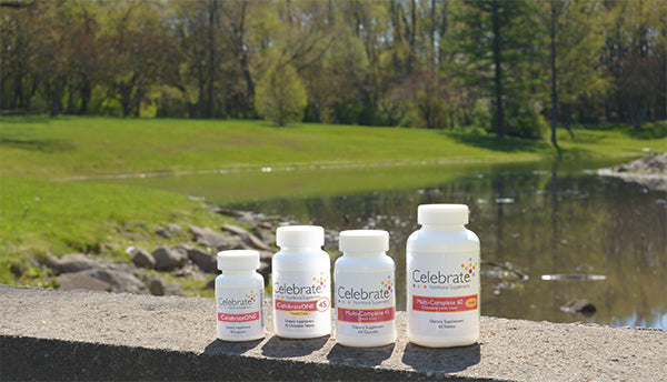 Outdoor photo of Celebrate Vitamins Multivitamin with iron product line