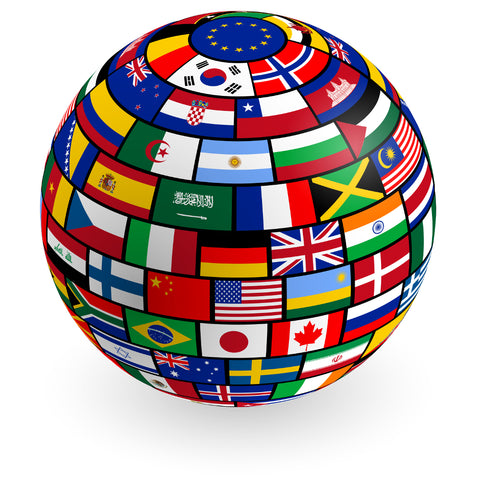Image of globe with country flags covering the surface