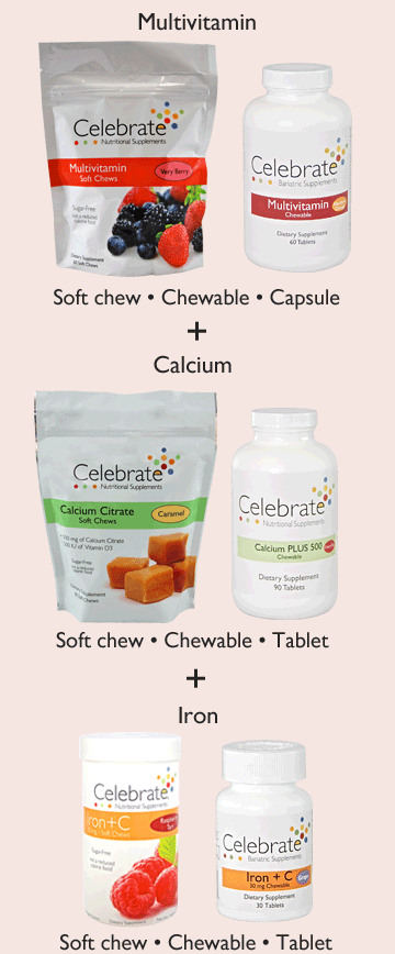 Image of Celebrate Vitamins Very Berry soft chew bag and Multivitamin mandarin orange bottle plus Image of Caramel Calcium soft chews bag and Cherry tart calcium chewables bottle plus Raspberry tart and Grape iron chewables bottle symbolizing the Path 1 supplement options of a seperate multivitamin calcium and iron