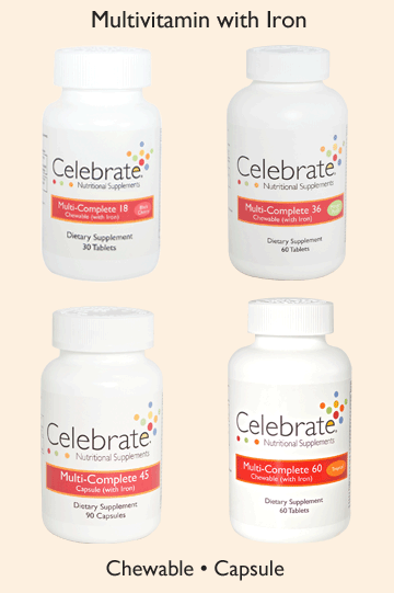 Images of the celebrate vitamins multicomplete chewable bottles in 18mg 36mg 45mg and 60mg