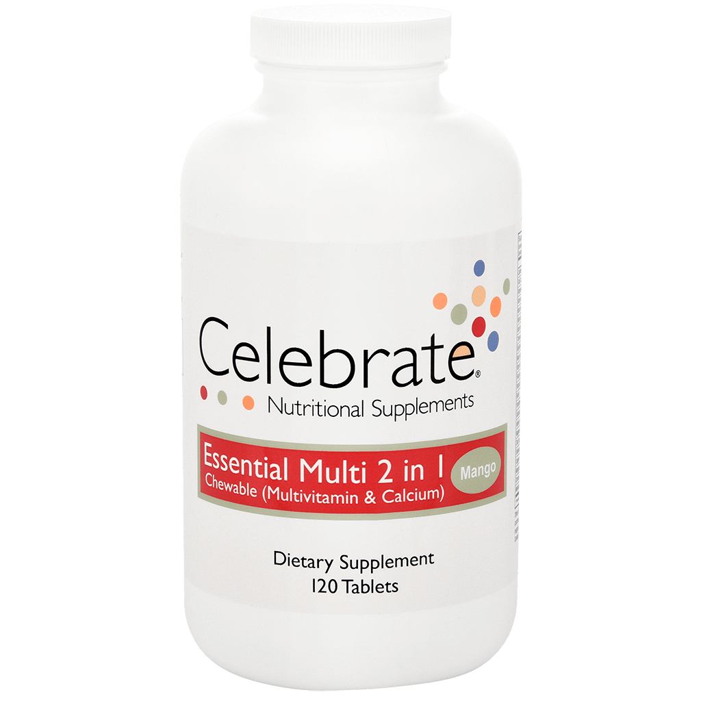 Photograph of Celebrate's essential multi 2 in 1 chewable multivitamin in mango flavor in a 120 count bottle