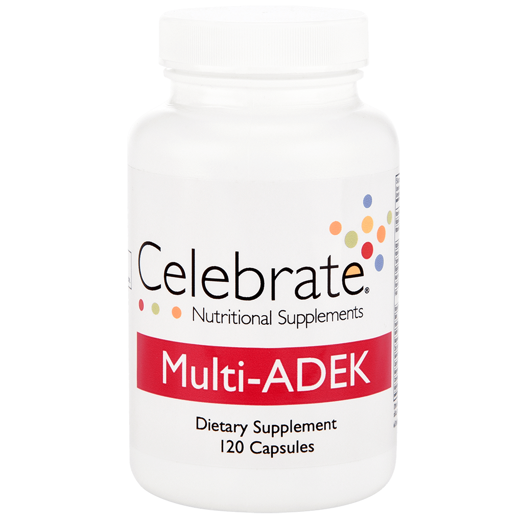 Celebrate Vitamins' Multi-ADEK capsules in a 120 count supply
