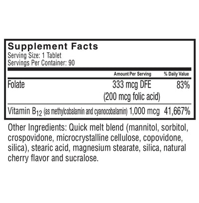 Supplement facts for Celebrate's b12 after gastric sleeve quick melt tablet in cherry flavor in 90 count bottle