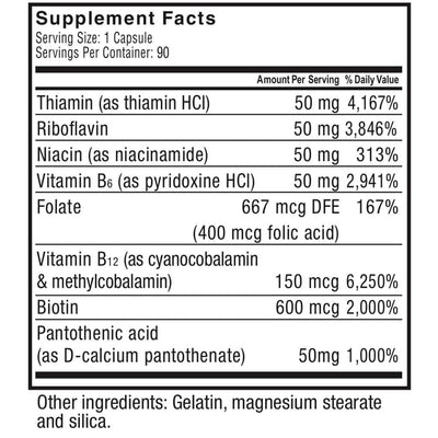 Supplement facts for Celebrate's vitamin b 50 complex capsules in a 90 count bottle