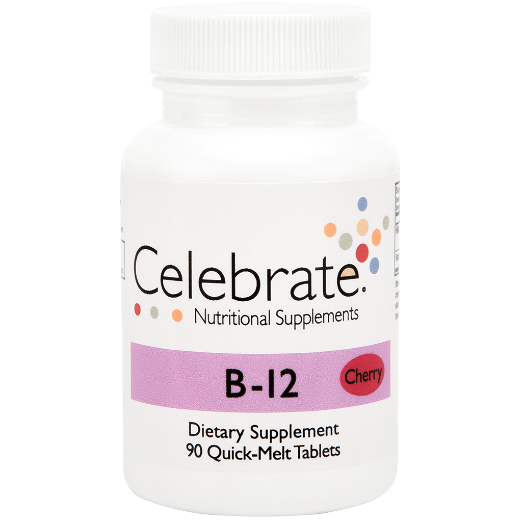 Photograph of Celebrate's bariatric b12 quick melt tablets in cherry flavor in a 90 count bottle