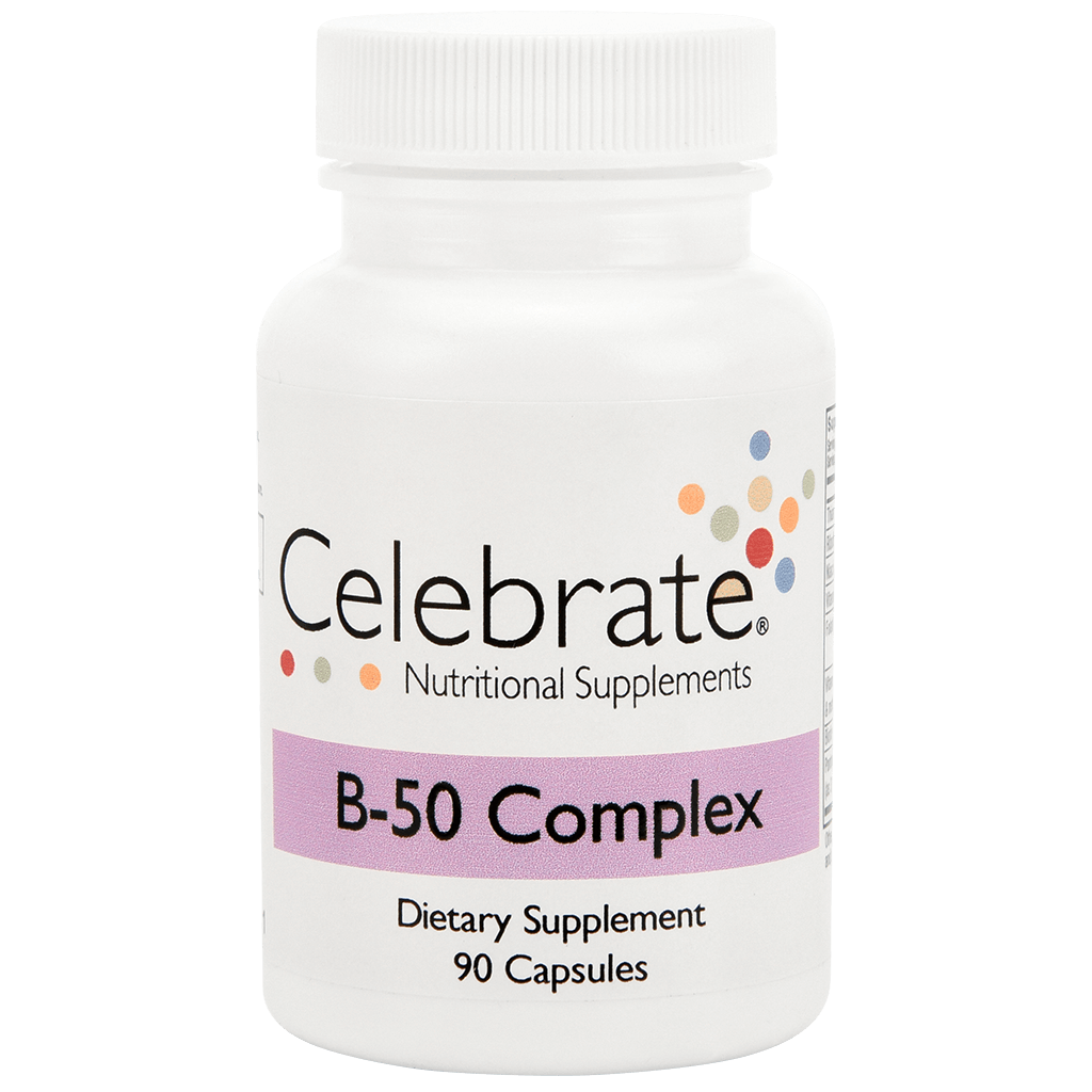 Photograph of Celebrate's vitamin b 50 complex capsules in a 90 count bottle