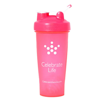 Photograph of Celebrate's 28 oz shaker bottle in pink