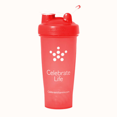 Image of Celebrate's 28 oz shaker bottle in red