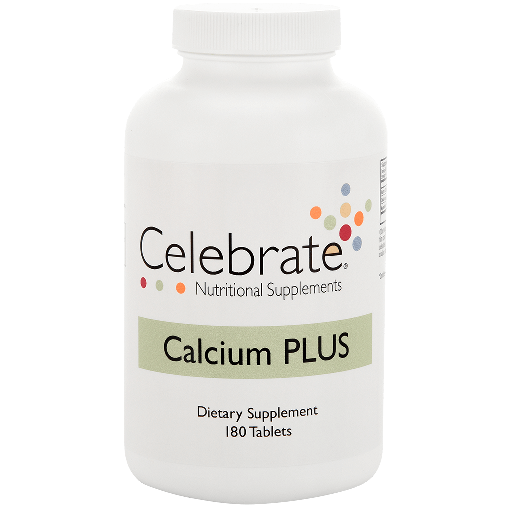 Photograph of Celebrate's calcium citrate tablet in a 180 count bottle