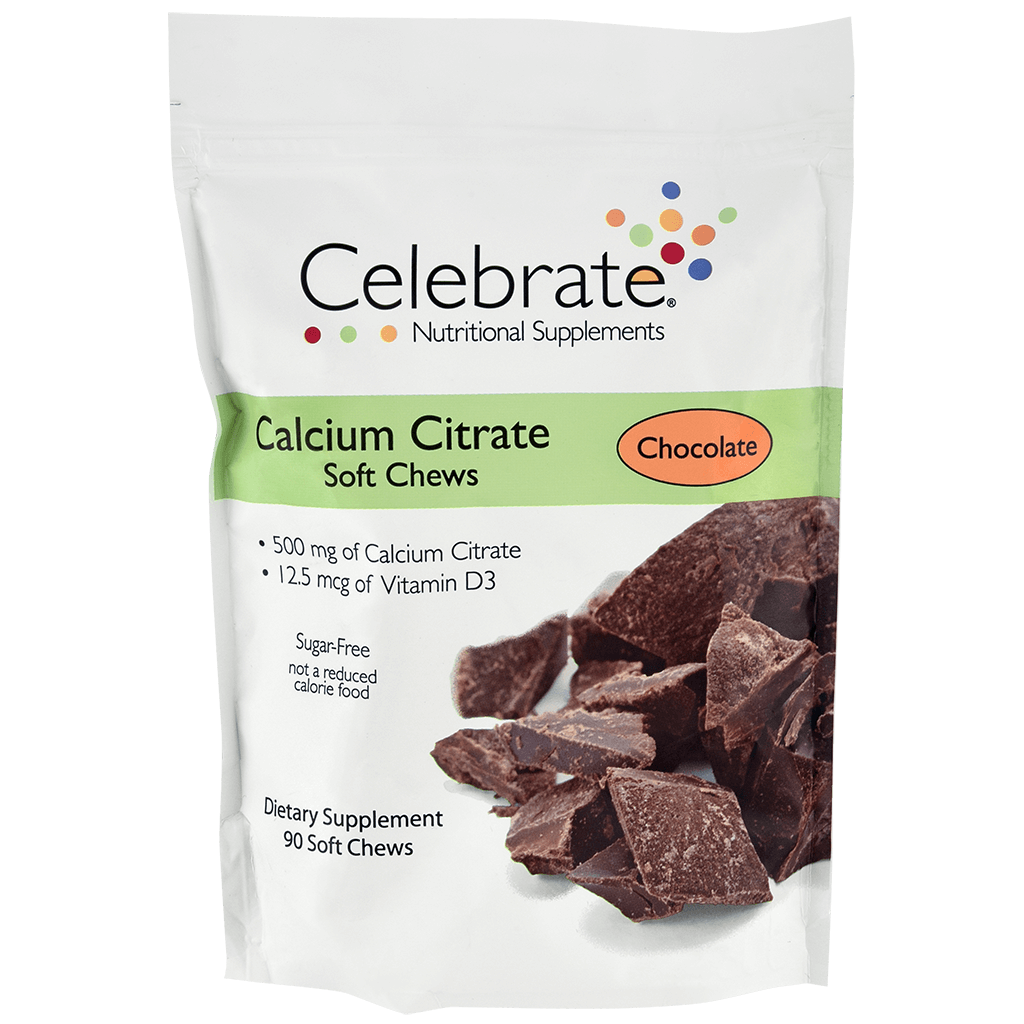 Image of a 30-day supply package of Celebrate's chocolate flavored calcium citrate soft chews