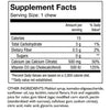 Image of the supplement facts from Celebrate's watermelon flavored calcium soft chews for bariatric surgery patients