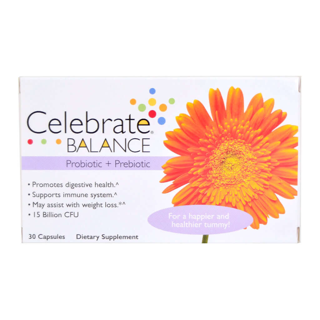 Photograph of Celebrate's pre probiotic capsules in a 30 count box