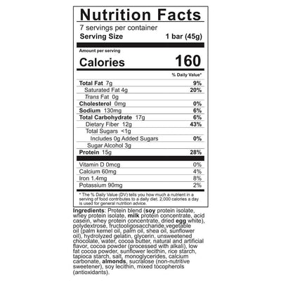 Supplement facts for Celebrate's protein bars for weight loss in chocolate chip flavor in a 7 count box