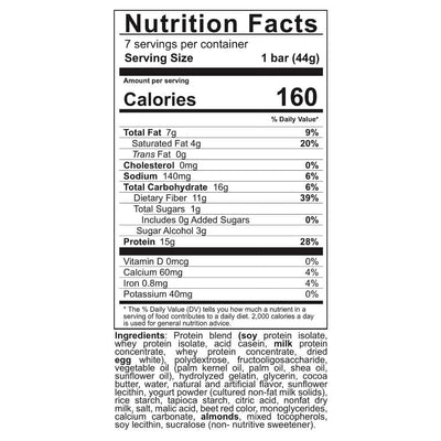 Supplement facts for Celebrate's bariatric protein bars in strawberry shortcake flavor in a 7 count box