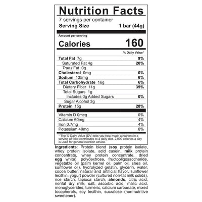 Supplement facts for Celebrate's bariatric protein bars in zesty lemon crisp flavor in a 7 count box